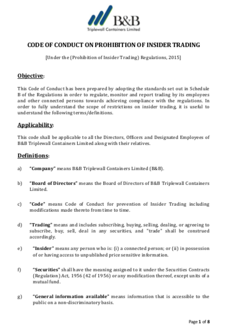 Code of conduct on Prohibition of Insider trading